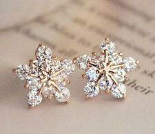 SNOWFLAKE CRYSTAL, RHINESTONE GOLD PLATED STUD EARRINGS
