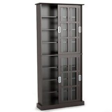 Media Storage Cabinet With Sliding Glass Doors Tall Display Case Free Standing