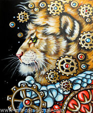 Olie Griffard Original STEAMPUNK painting LION KING MIND abstract art COGS GEARS