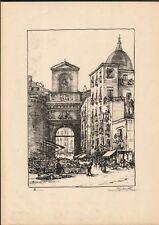 NAPOLI. Porta Capuana. Litografia, anno 1924, di A. Carbonati (1893 - 1956).