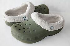 CROCS Mammoth Olive Green Clogs Cream Faux Fur Lining Shoes Boys Girls Jr 1-3