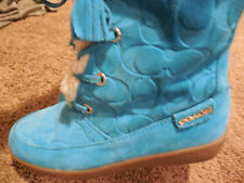 COACH  Tuesday teal Tourmaline Embossed Suede Boots Shoes US 5.5 /5 1/2