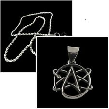 """Silver Science Atheist Logo Necklace Pendant w/ 20"""" stainless steel chain P-038s"""