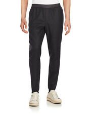 Vince Mens Leather Trim Wool Jogger Elasticized Pants Trousers Black XL NWT $295