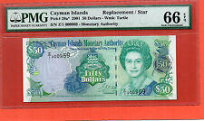 2001 Cayman Islands QE II $50 Replacement note.PMG66 EPQ low number