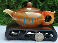 Red Agate / Carnelian Carving / Sculpture: Teapot / Tea Pot Statue