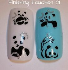 Nail Art Water Transfer- Panda Decal #32 BJC-165 Sticker Black Silver Glitter