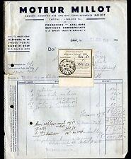 """GRAY (70) FONDERIE / MOTEURS """"MILLOT"""" en 1940"""