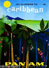 Jet Clippers to Caribbean Islands Beach Vintage Travel Advertisement Art Poster