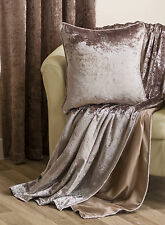 "Crushed Velvet New Sofa Throw 150x200cm & Co Ordinating Cushion Cover 45cm (18"")"