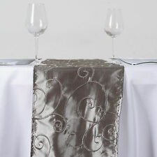 """Silver TABLE RUNNER 12x108"""" Embroidered TAFFETA Wedding Party Catering Linens"""