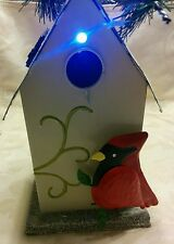 Decorative Lighted Metal Birdhouse - Red Cardinal - Perch with Hanging Chain