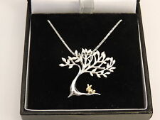 Tree of Life With Gold Rabbit Pendant Necklace 925 Silver. Gift For Her