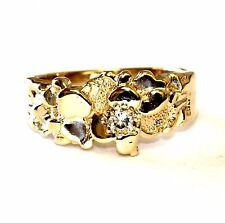 14k yellow gold .15ct VS1 G round diamond solitaire nugget ring 7.2g vintage