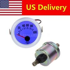"Oil Pressure Meter Gauge for Auto Car 2"" 52mm 0~100PSI Blue LED Light+ Sensor US"