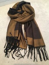 Brown Bronze Gold Cashmere Wool Scarf Shawl Wrap Pashmina Christmas Gift Warm