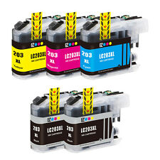 5PK LC203 XL High Yield Compatible Ink Cartridge For Brother MFC-J4620DW J480DW