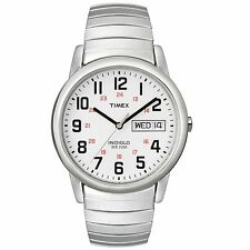 NEW Timex T20461 Mens Easy Reader Stainless Steel Watch Silver Band Indiglo Lit