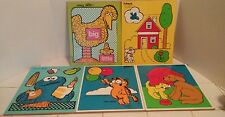 Vintage Lot Of 5 PLAYSKOOL WOOD PUZZLES Garfield Oscar Big Bird Dogs My House