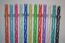 "12 - 11"" Reusable Straws Clear Swirly Colored Plastic Acrylic Rings BPA Free #7"
