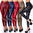 Sexy Slim Fit High Waist Leather Look Stretch Leggings pants 6 - 14
