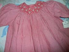 nwt Carriage Boutiques red check  smocked bishop dress girl 4T free ship US