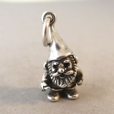 .925 Sterling Silver 3-D GARDEN GNOME CHARM NEW Yard Lawn Pendant 925 GA47