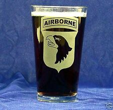 US Army 101st Airbourne 16oz etched Beer Glass set of 4