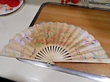 "9"" Vintage Hand Fan w/ Angels - Unknown Maker"