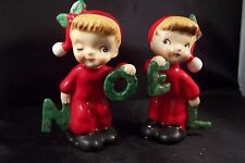 Vintage Christmas NOEL PJ Girl 50s NAPCO Salt and Pepper Shakers