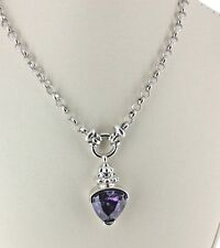 Heavy Sterling Silver Amethyst Pendant Necklace