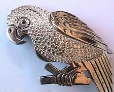 SIGNED 1950s PARROT BIRD BROOCH -CARVED STERLING SILVER -MADE IN MEXICO- PERFECT