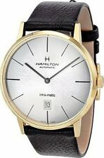 H38735751 Hamilton Intra-Matic Automatic Yellow Gold PVD Mens Watch Silver Dial