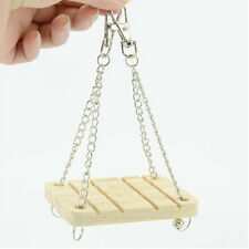 Lovely Parrot Hamster Small Wooden Swing Bell Hanging Bed Shake Toy Pet Supplies