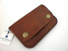 Celyfos ® Handmade Leather Biker Wallet Italian leather brown Slim