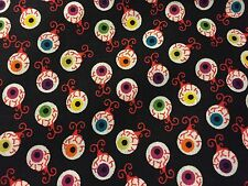 Spooky Creepy Scary Blood Shot Eye Eyes on Black Haunted Halloween Fabric BTHY