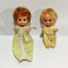 Vintage 1973 Sunshine Family Baby Dolls - Blond Boy + Red Head in Yellow Clothes