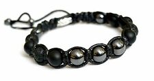 Men's Shungite Hematite Lavastone Gemstone Beads Shamballa Adjustable Bracelet