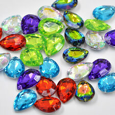 NEW! 20pcs x Sew On 13x18 mm Acrylic Rhinestones  Rainbow Color Teardrop Shape