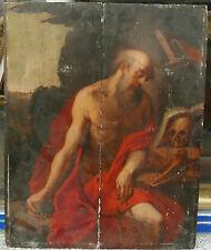 Tableau Italien Ancien Huile Portrait Saint-Jérôme Vanité Crâne XVIe Religieux