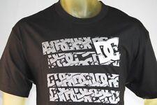 "DC SHOES MEN'S GRAPHIC BLACK T-SHIRT W/ MULTIPLE ""DC"" LOGO ON FRONT size Large"