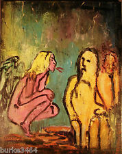 """Orig Modernist Expressionist Abstract Wall ART Painting """"The Temptrist"""" FOLTZ"""