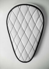 Custom Solo Seat White & Black Diamond to fit Harley Bobber Chopper Yamaha