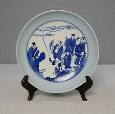 Chinese  Light  Blue  With  Blue and White  Porcelain  Plate  With  Mark     M12