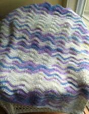 CROCHET lace wavy ripple baby SOFT blanket afghan wrap handmade lilac blue new