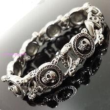 """Stainless Steel Silver Black Skull Link Chain Gothic Biker Men Bracelet 8.66"""""""