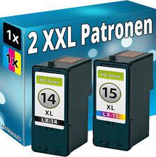 2x TINTE PATRONEN für LEXMARK 14+15 X2600 X2620 X2630 X2650 X2670 Z2300 Z2320