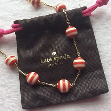 NWT Kate Spade Red Striped Candy Gold Necklace Gift Christmas Present