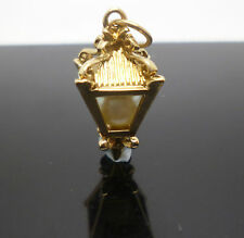 Lovely vintage antique 9ct yellow gold pearl lantern charm with open jump ring