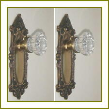 CUSTOM MADE CRYSTAL & ANTIQUE BRASS Estate Style DOOR Knobs Set to FIT ANY DOOR